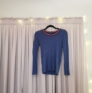 NWOT blue round neck cable knit sweater